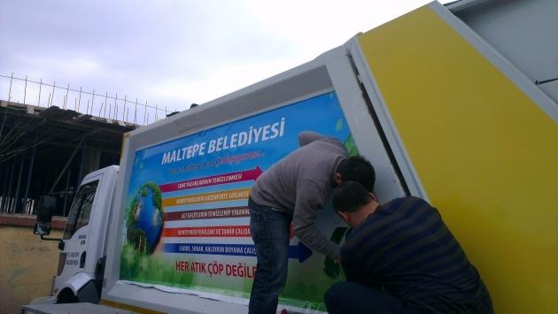 Maltepe Belediyesi Çöp Kamyonları Dijital Baskı ve Uygulamaları - (14/03/2014)